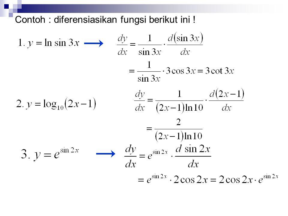 Contoh : diferensiasikan fungsi berikut ini !