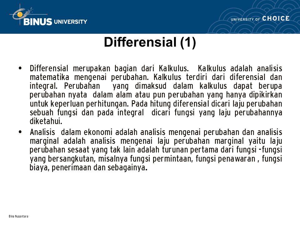 Bina Nusantara Differensial merupakan bagian dari Kalkulus. Kalkulus adalah analisis matematika mengenai perubahan. Kalkulus terdiri dari diferensial