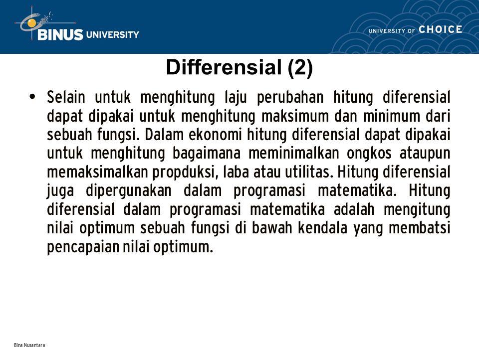 Bina Nusantara Differensial (2) Selain untuk menghitung laju perubahan hitung diferensial dapat dipakai untuk menghitung maksimum dan minimum dari sebuah fungsi.