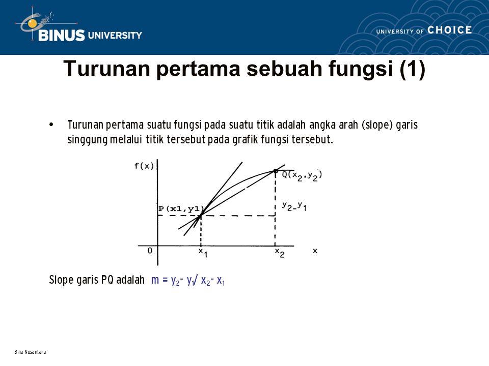Bina Nusantara Turunan pertama sebuah fungsi (1) Turunan pertama suatu fungsi pada suatu titik adalah angka arah (slope) garis singgung melalui titik