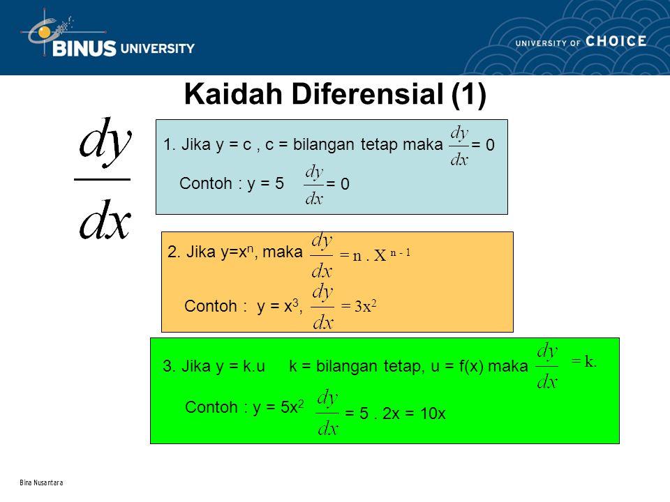 Bina Nusantara Kaidah Diferensial (1) 1. Jika y = c, c = bilangan tetap maka Contoh : y = 5 = 0 2. Jika y=x n, maka Contoh : y = x 3, = n. X n - 1 = 3
