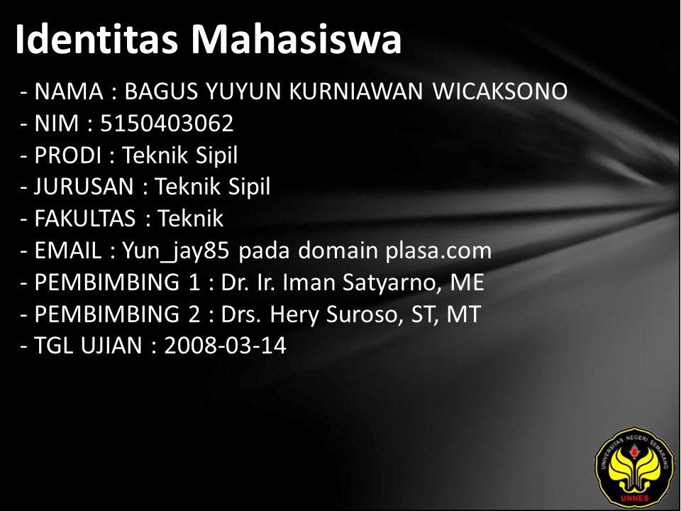 Identitas Mahasiswa - NAMA : BAGUS YUYUN KURNIAWAN WICAKSONO - NIM : 5150403062 - PRODI : Teknik Sipil - JURUSAN : Teknik Sipil - FAKULTAS : Teknik - EMAIL : Yun_jay85 pada domain plasa.com - PEMBIMBING 1 : Dr.