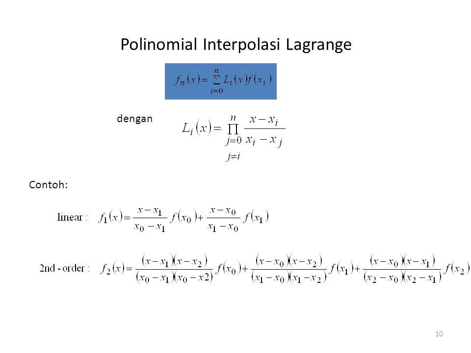 Polinomial Interpolasi Lagrange 10 dengan Contoh: