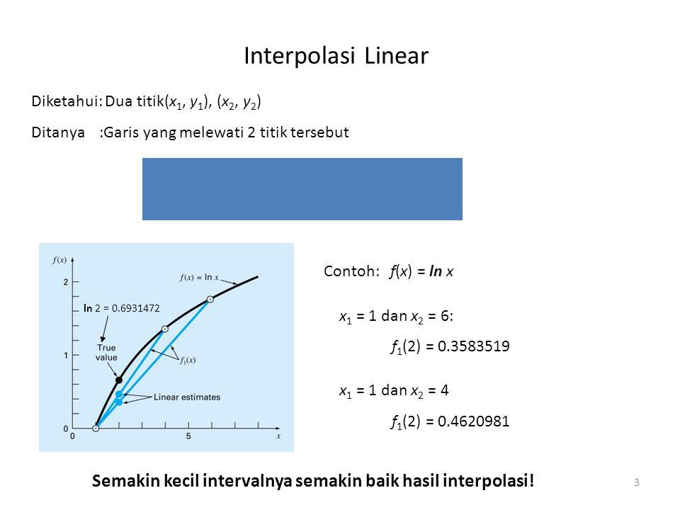 Interpolasi Linear 3 Diketahui: Dua titik(x 1, y 1 ), (x 2, y 2 ) Ditanya:Garis yang melewati 2 titik tersebut Contoh: f(x) = ln x x 1 = 1 dan x 2 = 6