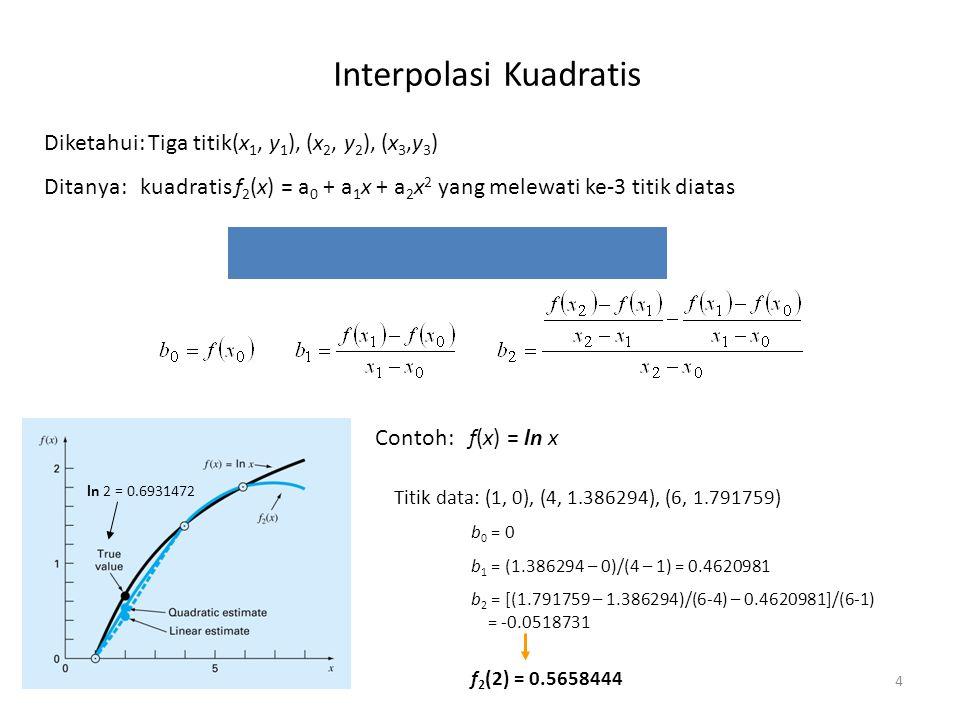 Interpolasi Kuadratis 4 Diketahui: Tiga titik(x 1, y 1 ), (x 2, y 2 ), (x 3,y 3 ) Ditanya:kuadratis f 2 (x) = a 0 + a 1 x + a 2 x 2 yang melewati ke-3
