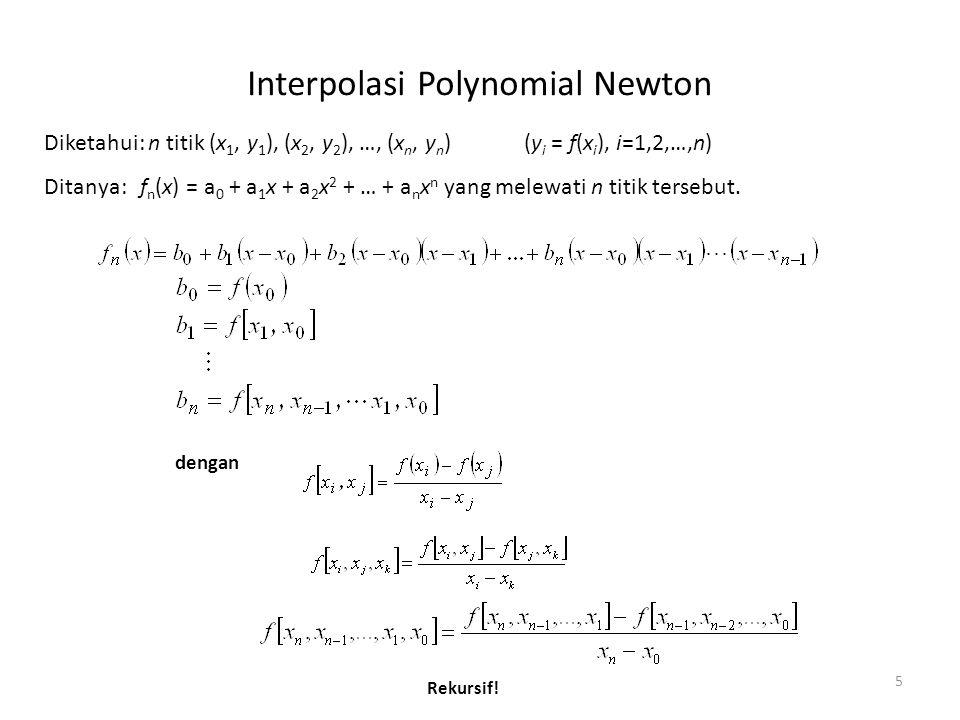 Contoh Interpolasi Polynomial Newton 6 Diketahui: (1, 0), (4, 1.386294), (6, 1.791759), (5, 1.609438) (dari fungsi ln x) Ditanya:Perkirakan ln 2 dengan interpolasi Newton orde ke-3 f 3 (2) = 0.629