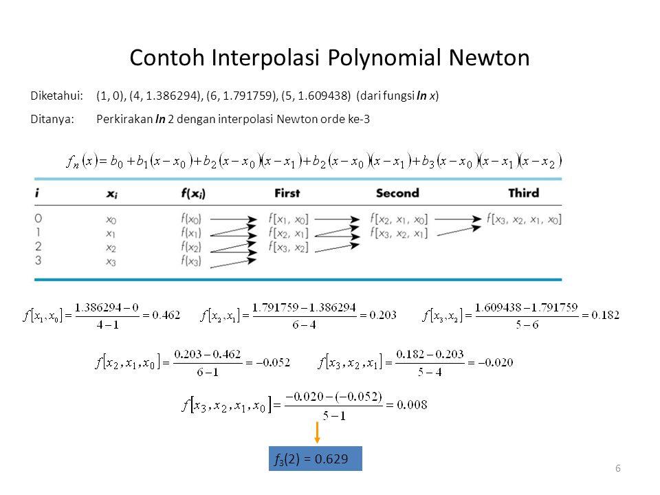 Contoh Interpolasi Polynomial Newton 6 Diketahui: (1, 0), (4, 1.386294), (6, 1.791759), (5, 1.609438) (dari fungsi ln x) Ditanya:Perkirakan ln 2 denga
