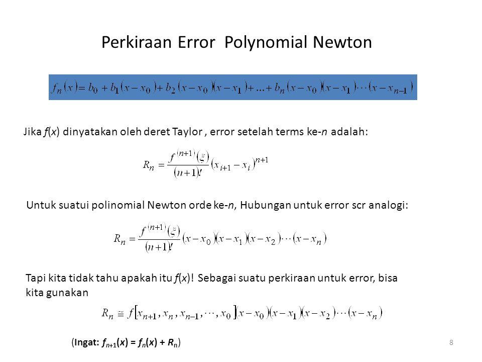 Perkiraan Error, Orde, dan Titik data 9 xf(x) = ln x 10 41.386 61.792 51.609 31.099 1.50.405 2.50.916 3.51.253 Perkiraan Error polynomial Newton f k (x) pada ln 2: k = 1,2,…,7 xf(x) = ln x 3.51.253 2.50.916 1.50.405 31.099 51.609 61.792 41.386 10