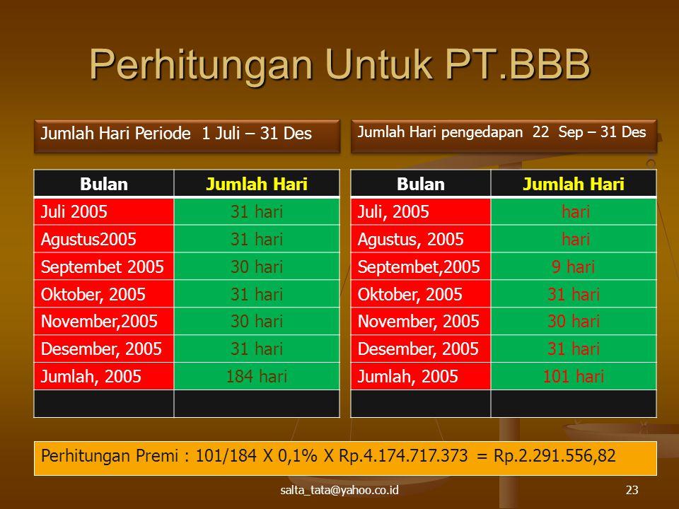 Perhitungan Untuk PT.BBB BulanJumlah Hari Juli 200531 hari Agustus200531 hari Septembet 200530 hari Oktober, 200531 hari November,200530 hari Desember