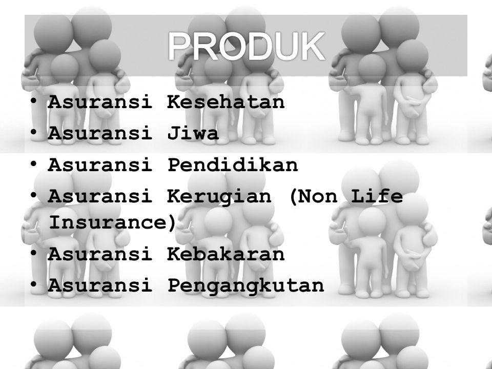 Asuransi Kesehatan Asuransi Jiwa Asuransi Pendidikan Asuransi Kerugian (Non Life Insurance) Asuransi Kebakaran Asuransi Pengangkutan