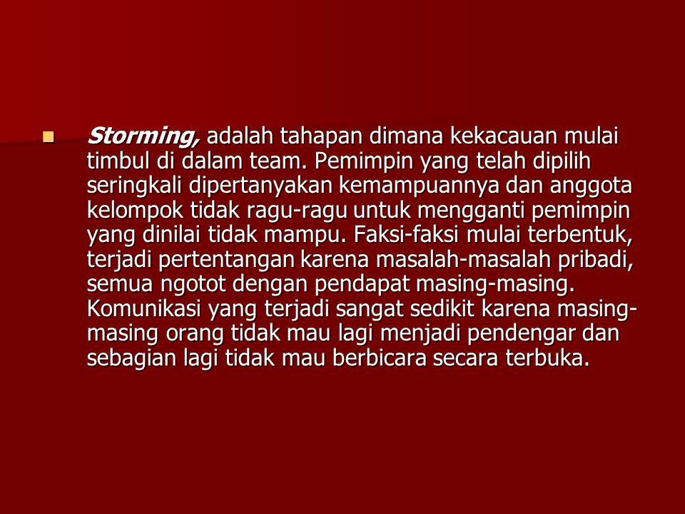 Storming, adalah tahapan dimana kekacauan mulai timbul di dalam team. Pemimpin yang telah dipilih seringkali dipertanyakan kemampuannya dan anggota ke