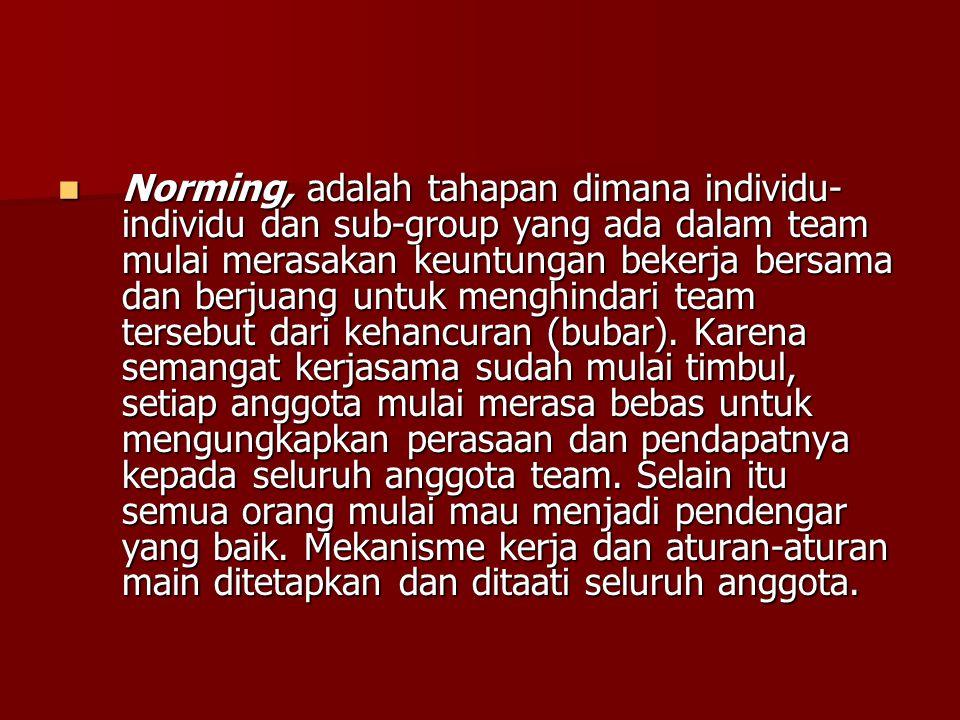 Norming, adalah tahapan dimana individu- individu dan sub-group yang ada dalam team mulai merasakan keuntungan bekerja bersama dan berjuang untuk meng
