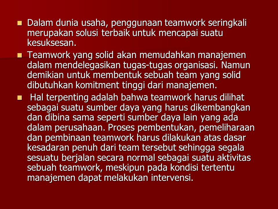Dalam dunia usaha, penggunaan teamwork seringkali merupakan solusi terbaik untuk mencapai suatu kesuksesan. Dalam dunia usaha, penggunaan teamwork ser