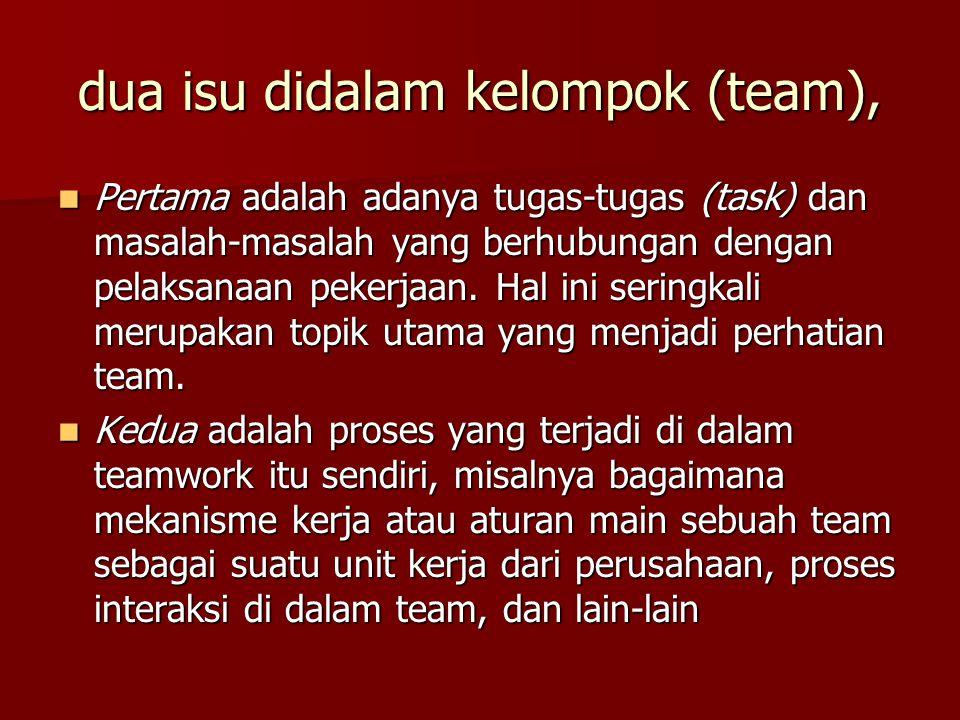 dua isu didalam kelompok (team), Pertama adalah adanya tugas-tugas (task) dan masalah-masalah yang berhubungan dengan pelaksanaan pekerjaan. Hal ini s