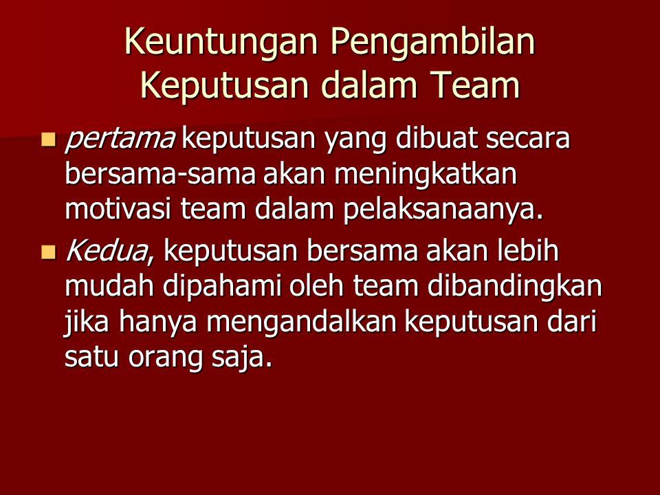 Keuntungan Pengambilan Keputusan dalam Team pertama keputusan yang dibuat secara bersama-sama akan meningkatkan motivasi team dalam pelaksanaanya. per