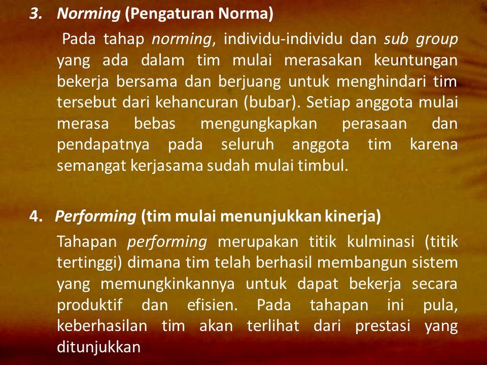 3.Norming (Pengaturan Norma) Pada tahap norming, individu-individu dan sub group yang ada dalam tim mulai merasakan keuntungan bekerja bersama dan ber