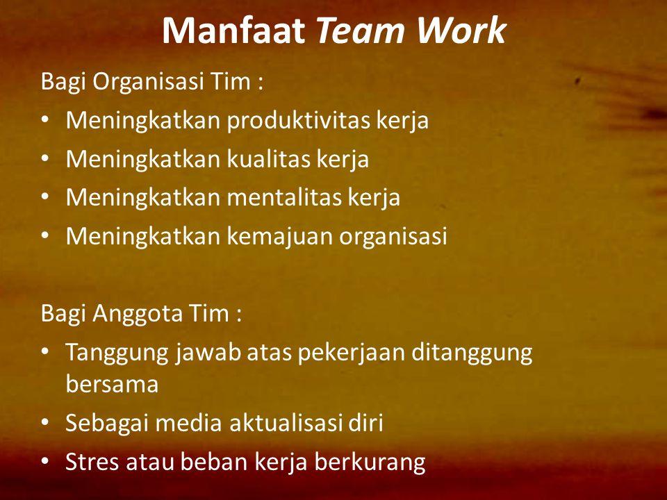 Manfaat Team Work Bagi Organisasi Tim : Meningkatkan produktivitas kerja Meningkatkan kualitas kerja Meningkatkan mentalitas kerja Meningkatkan kemaju