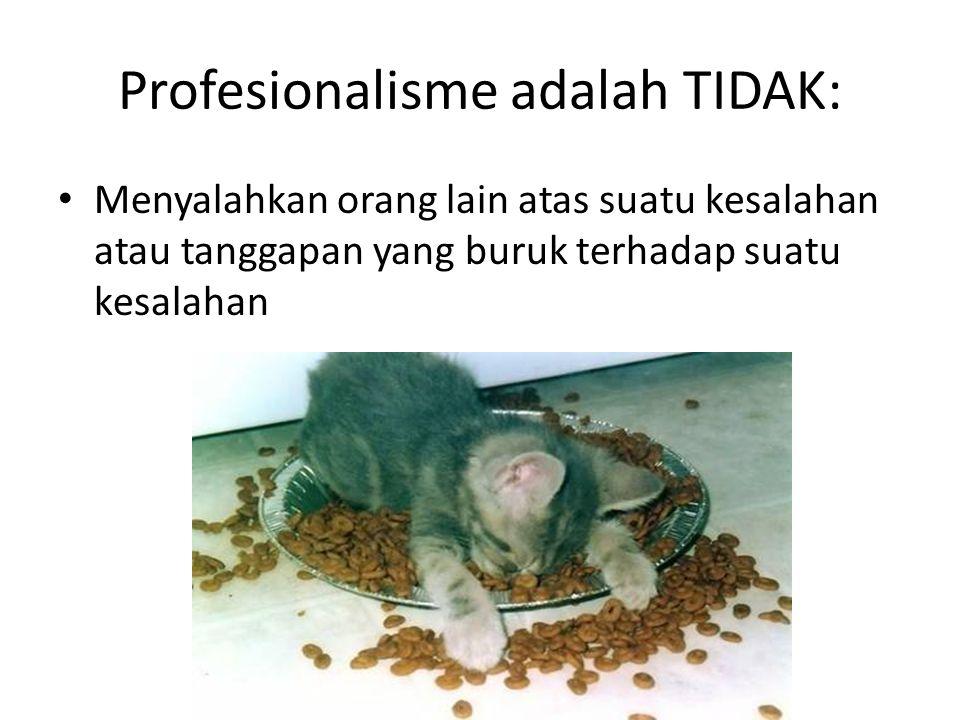 Profesionalisme adalah TIDAK: Menyalahkan orang lain atas suatu kesalahan atau tanggapan yang buruk terhadap suatu kesalahan