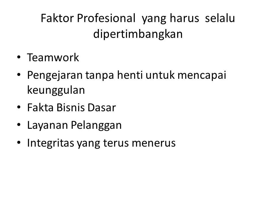 Faktor Profesional yang harus selalu dipertimbangkan Teamwork Pengejaran tanpa henti untuk mencapai keunggulan Fakta Bisnis Dasar Layanan Pelanggan Integritas yang terus menerus