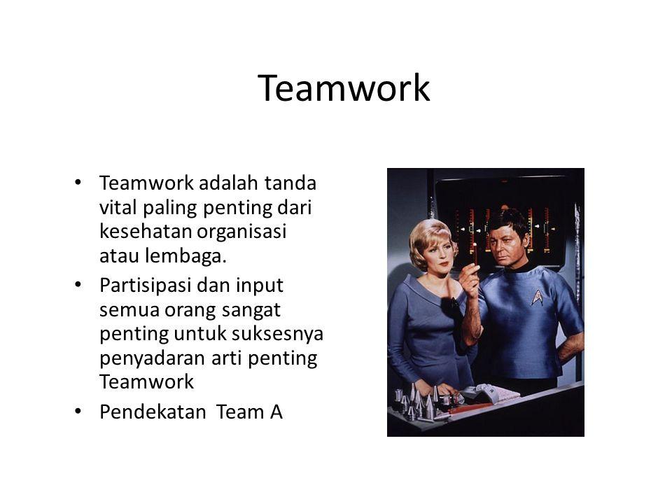 Teamwork Teamwork adalah tanda vital paling penting dari kesehatan organisasi atau lembaga.