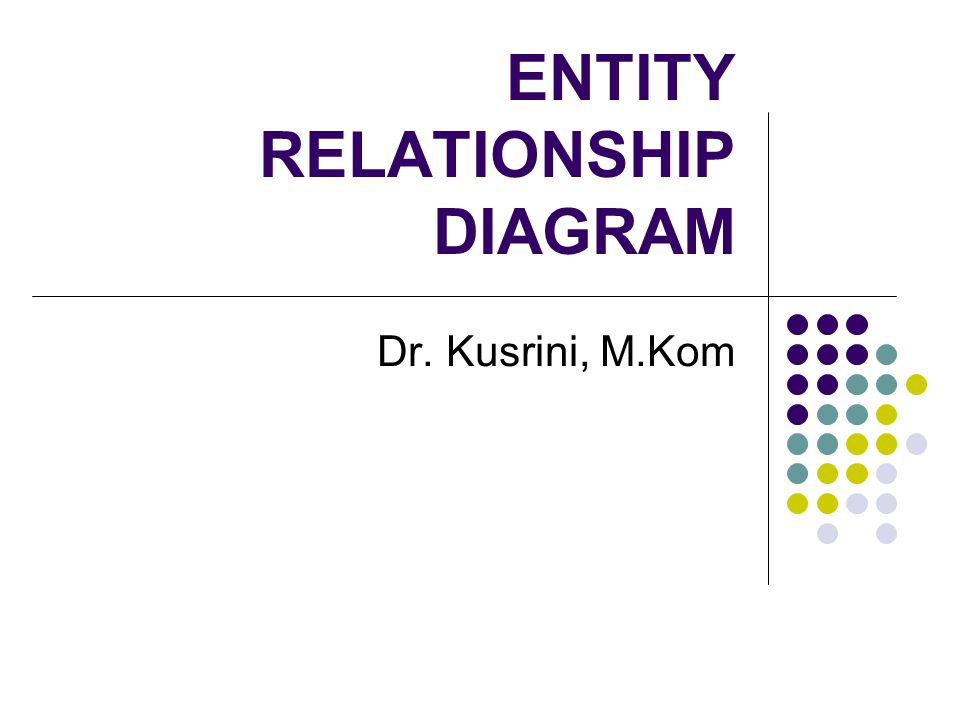 ENTITY RELATIONSHIP DIAGRAM Dr. Kusrini, M.Kom