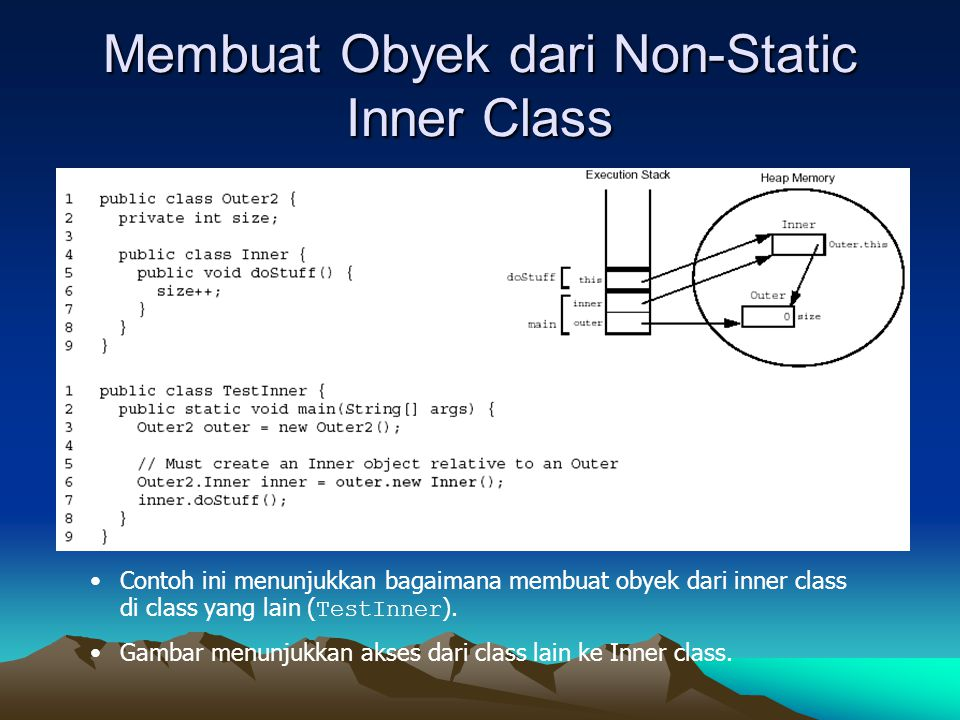 Membuat Obyek dari Non-Static Inner Class Contoh ini menunjukkan bagaimana membuat obyek dari inner class di class yang lain ( TestInner ). Gambar men