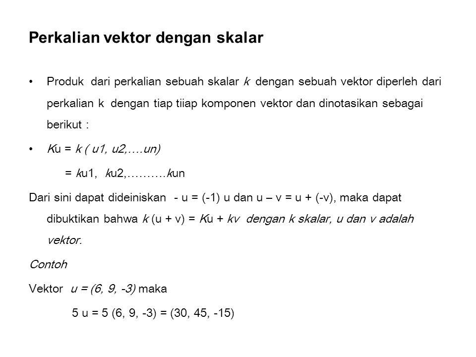 Perkalian vektor dengan skalar Produk dari perkalian sebuah skalar k dengan sebuah vektor diperleh dari perkalian k dengan tiap tiiap komponen vektor