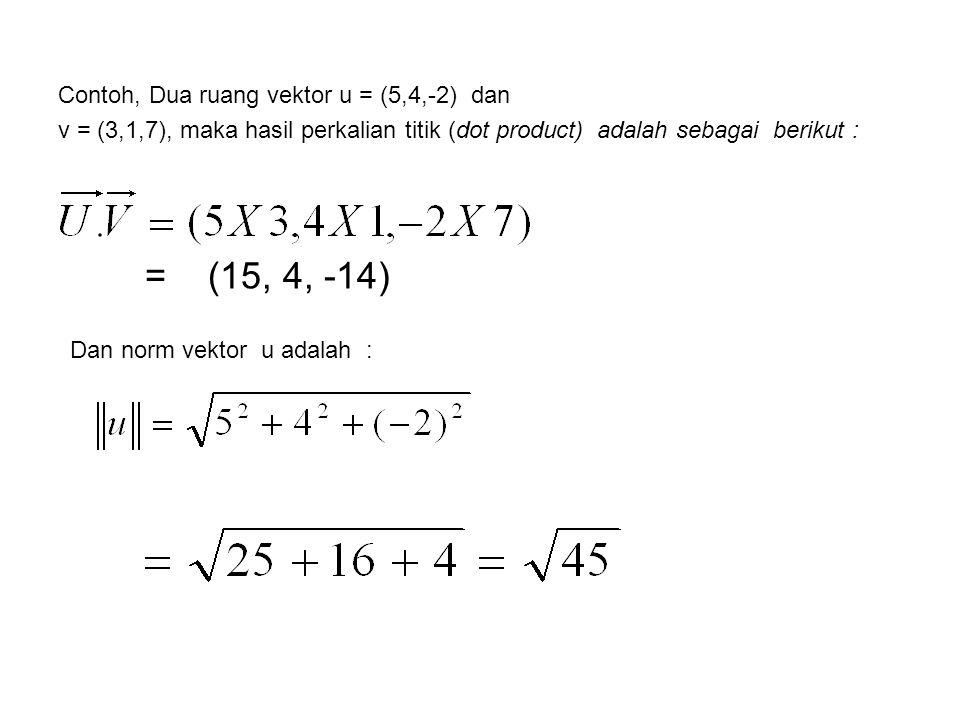 Contoh, Dua ruang vektor u = (5,4,-2) dan v = (3,1,7), maka hasil perkalian titik (dot product) adalah sebagai berikut : = (15, 4, -14) Dan norm vekto