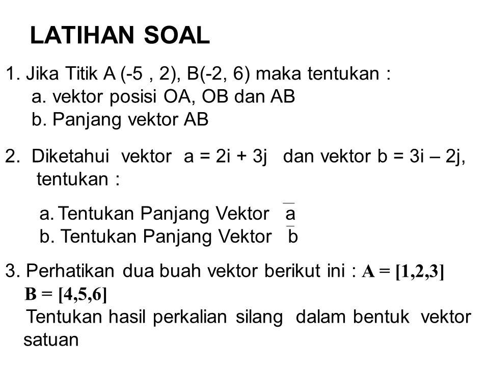 LATIHAN SOAL 1. Jika Titik A (-5, 2), B(-2, 6) maka tentukan : a. vektor posisi OA, OB dan AB b. Panjang vektor AB a.Tentukan Panjang Vektor a b. Tent