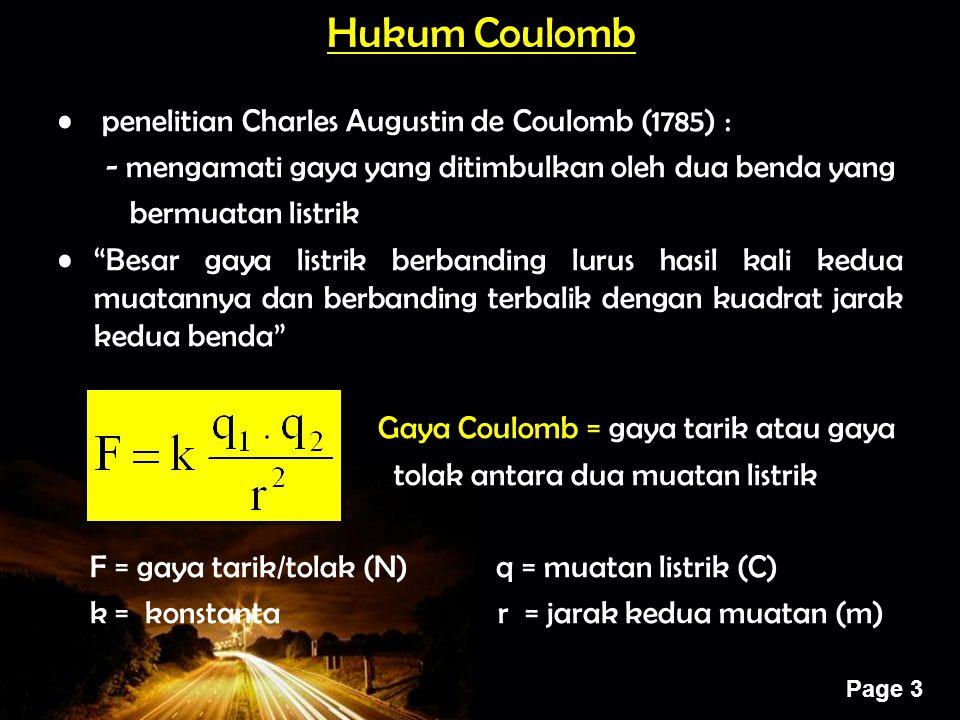 Powerpoint Templates Page 3 Hukum Coulomb penelitian Charles Augustin de Coulomb (1785) : - mengamati gaya yang ditimbulkan oleh dua benda yang bermua