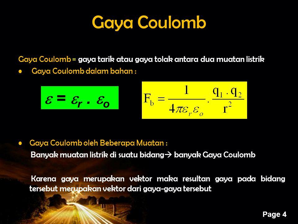 Powerpoint Templates Page 4 Gaya Coulomb Gaya Coulomb = gaya tarik atau gaya tolak antara dua muatan listrik Gaya Coulomb dalam bahan : Gaya Coulomb o