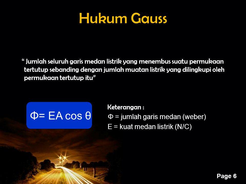 "Powerpoint Templates Page 6 Hukum Gauss "" Jumlah seluruh garis medan listrik yang menembus suatu permukaan tertutup sebanding dengan jumlah muatan lis"