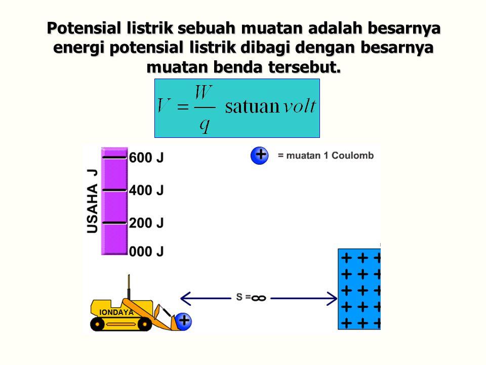 Potensial listrik sebuah muatan adalah besarnya energi potensial listrik dibagi dengan besarnya muatan benda tersebut.