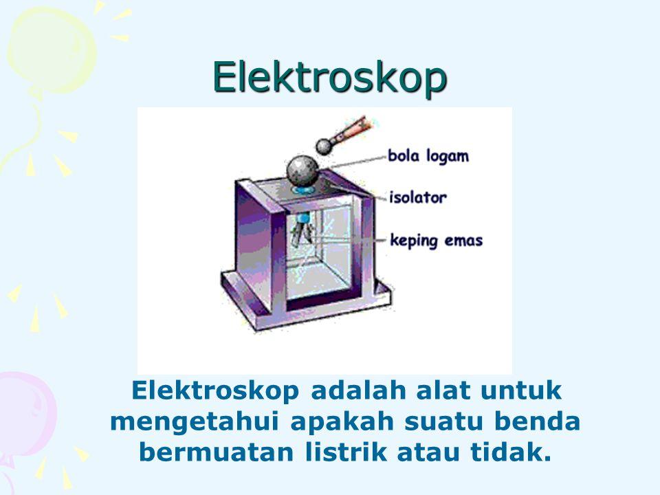 Prinsip kerja elektroskop Apabila sebuah benda bermuatan listrik didekatkan pada elektroskop, maka elektron pada bola konduktor akan bereaksi sesuai dengan jenis muatan yang didekatkan.