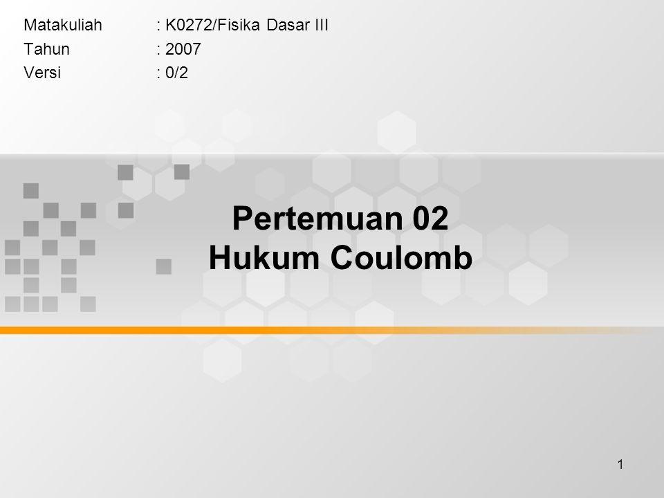 1 Matakuliah: K0272/Fisika Dasar III Tahun: 2007 Versi: 0/2 Pertemuan 02 Hukum Coulomb