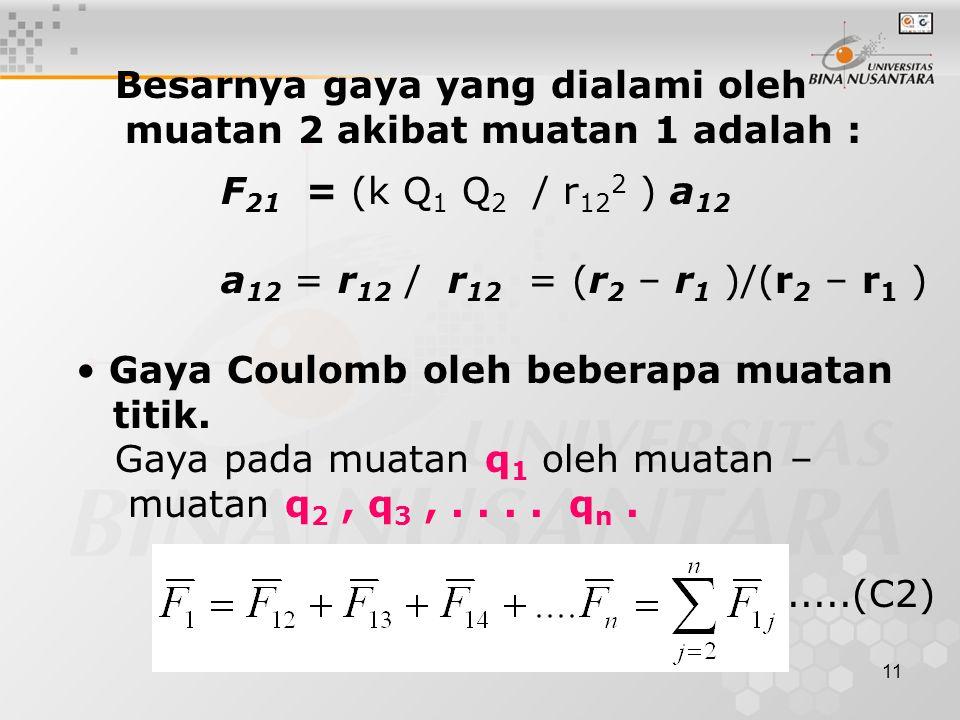 11 Besarnya gaya yang dialami oleh muatan 2 akibat muatan 1 adalah : F 21 = (k Q 1 Q 2 / r 12 2 ) a 12 a 12 = r 12 /  r 12  = (r 2 – r 1 )/(  r 2 – r 1  ) Gaya Coulomb oleh beberapa muatan titik.