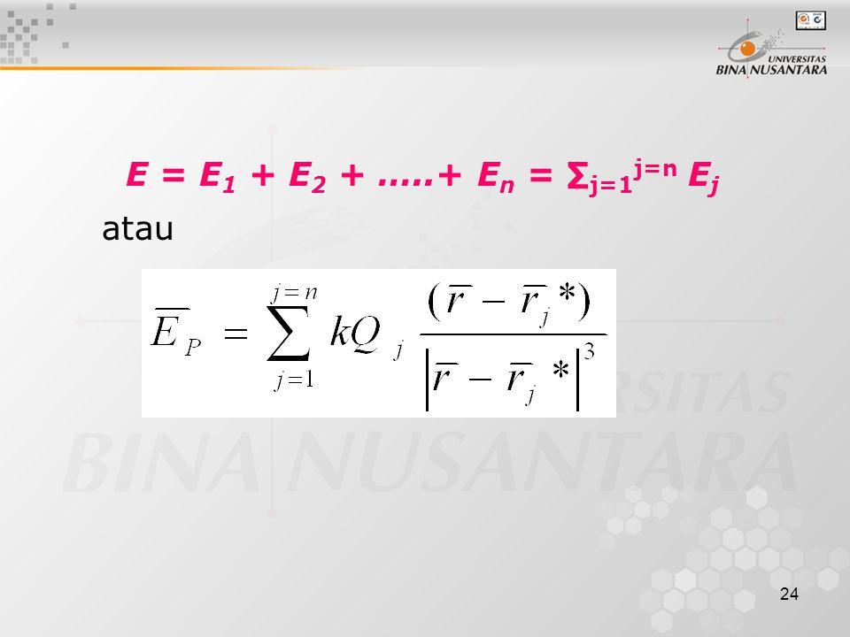 24 E = E 1 + E 2 + …..+ E n = ∑ j=1 j=n E j atau