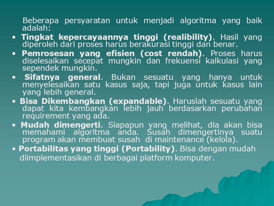 Beberapa persyaratan untuk menjadi algoritma yang baik adalah: Tingkat kepercayaannya tinggi (realibility). Hasil yang diperoleh dari proses harus ber