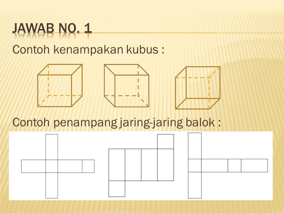 Contoh kenampakan kubus : Contoh penampang jaring-jaring balok :