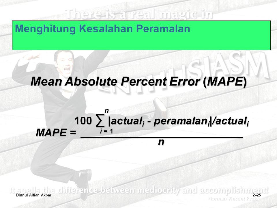 Dinnul Alfian Akbar2–25 Menghitung Kesalahan Peramalan Mean Absolute Percent Error (MAPE) MAPE = 100 ∑ |actual i - peramalan i |/actual i n n i = 1