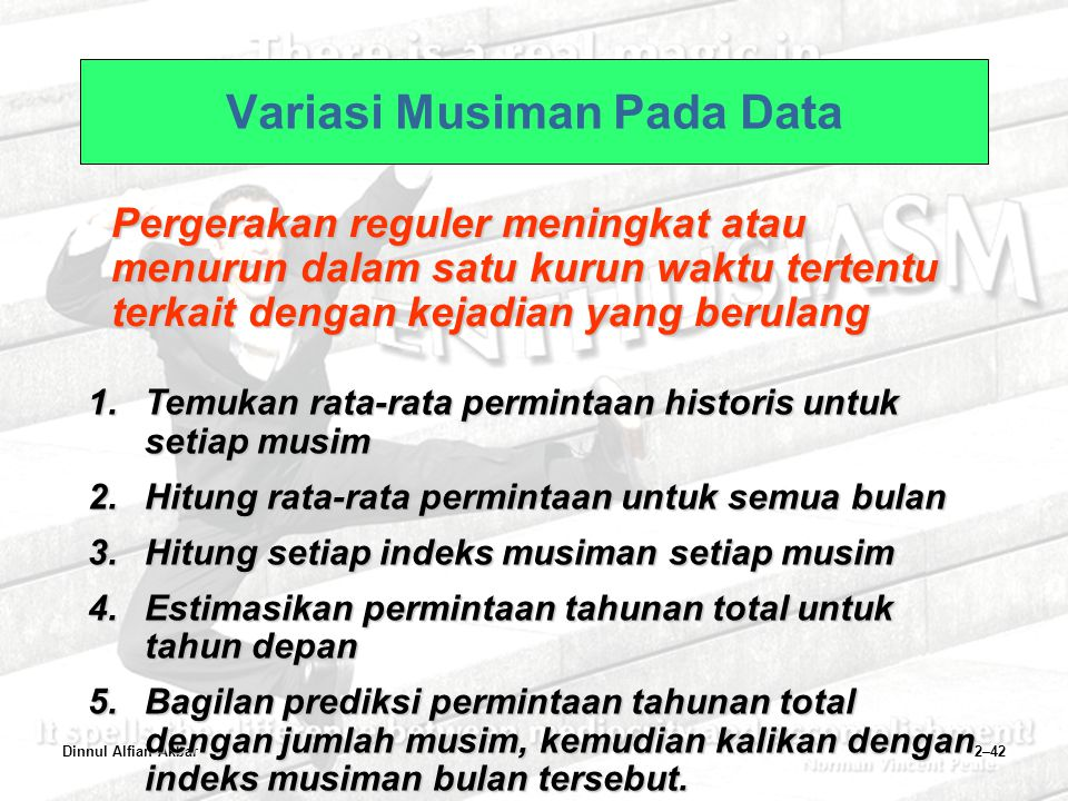 Dinnul Alfian Akbar2–42 Variasi Musiman Pada Data Pergerakan reguler meningkat atau menurun dalam satu kurun waktu tertentu terkait dengan kejadian ya