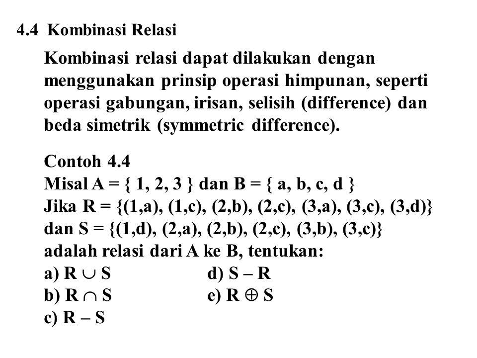 4.4 Kombinasi Relasi Kombinasi relasi dapat dilakukan dengan menggunakan prinsip operasi himpunan, seperti operasi gabungan, irisan, selisih (difference) dan beda simetrik (symmetric difference).