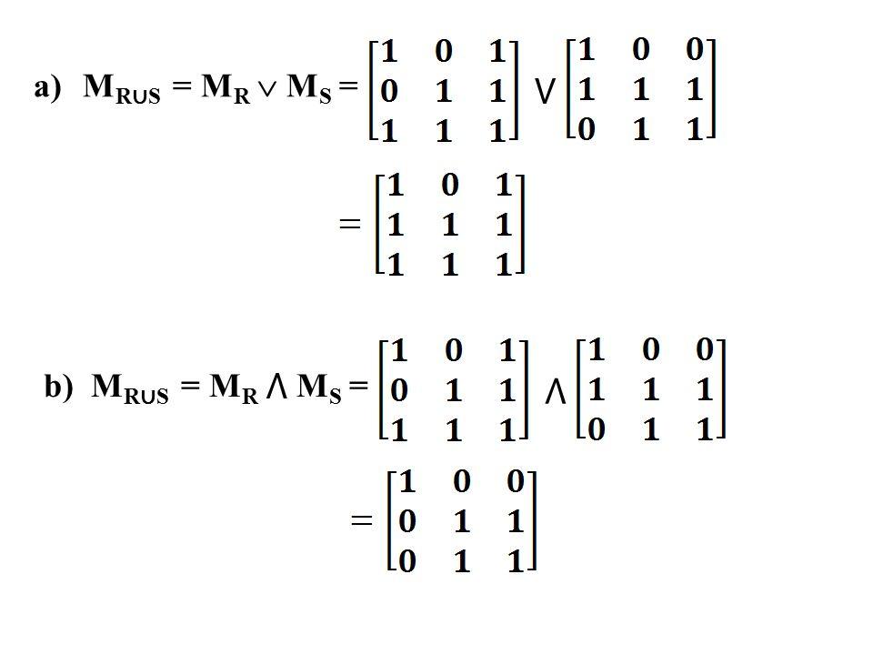 a)M R ∪ S = M R  M S = ⋁ b) M R ∪ S = M R ⋀ M S = ⋀