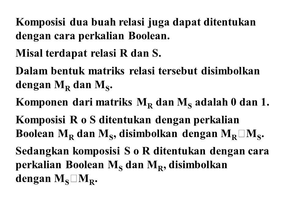 Komposisi dua buah relasi juga dapat ditentukan dengan cara perkalian Boolean.