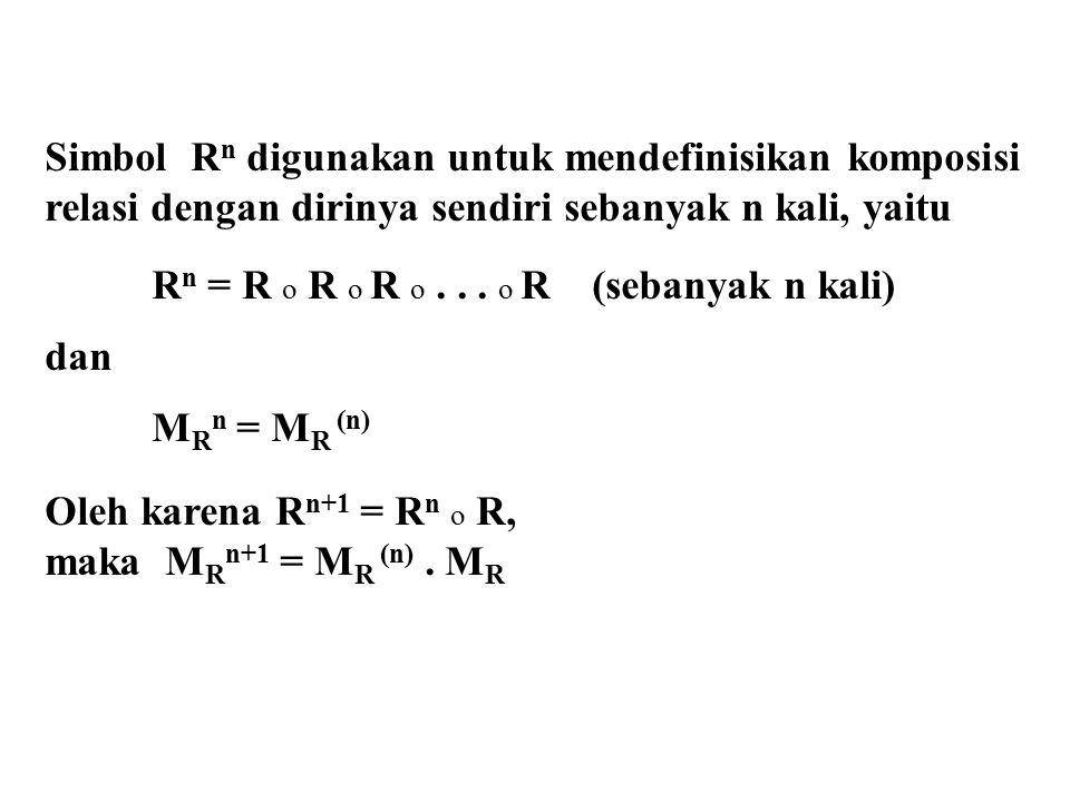 Simbol R n digunakan untuk mendefinisikan komposisi relasi dengan dirinya sendiri sebanyak n kali, yaitu R n = R o R o R o... o R (sebanyak n kali) da