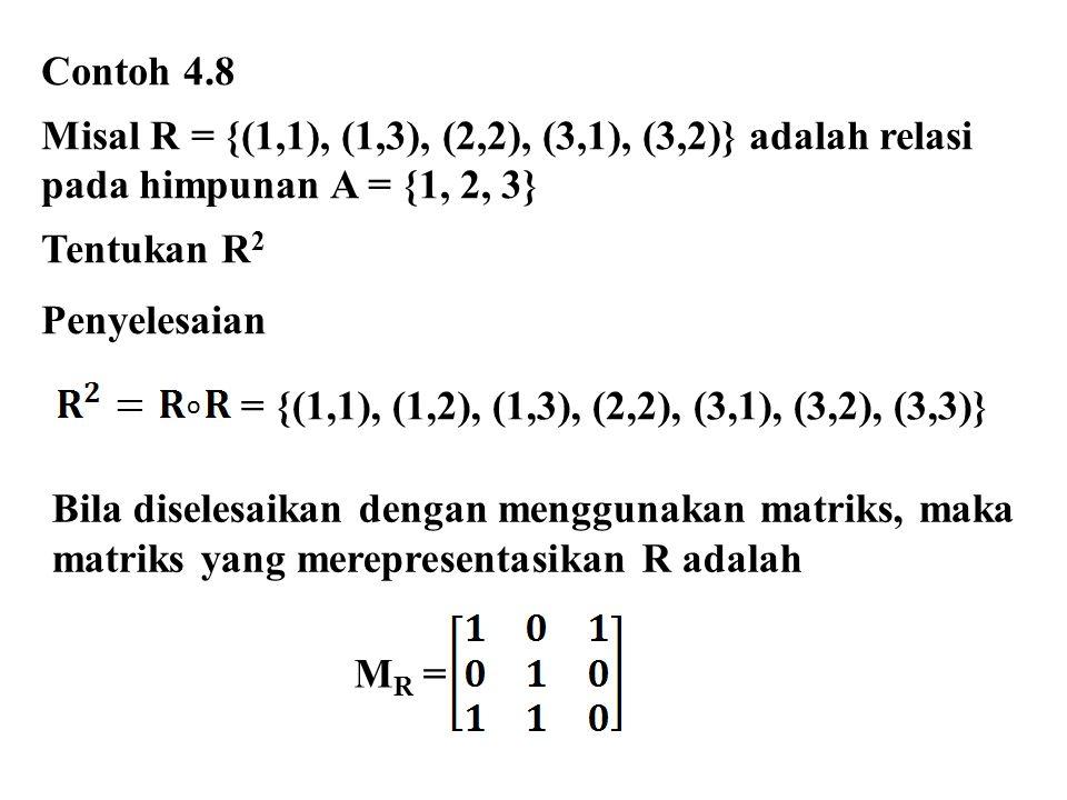 Contoh 4.8 Misal R = {(1,1), (1,3), (2,2), (3,1), (3,2)} adalah relasi pada himpunan A = {1, 2, 3} Tentukan R 2 Penyelesaian = {(1,1), (1,2), (1,3), (2,2), (3,1), (3,2), (3,3)} o Bila diselesaikan dengan menggunakan matriks, maka matriks yang merepresentasikan R adalah M R =