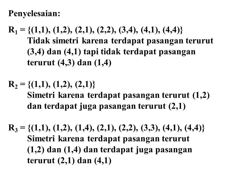 Penyelesaian: R 1 = {(1,1), (1,2), (2,1), (2,2), (3,4), (4,1), (4,4)} Tidak simetri karena terdapat pasangan terurut (3,4) dan (4,1) tapi tidak terdapat pasangan terurut (4,3) dan (1,4) R 2 = {(1,1), (1,2), (2,1)} Simetri karena terdapat pasangan terurut (1,2) dan terdapat juga pasangan terurut (2,1) R 3 = {(1,1), (1,2), (1,4), (2,1), (2,2), (3,3), (4,1), (4,4)} Simetri karena terdapat pasangan terurut (1,2) dan (1,4) dan terdapat juga pasangan terurut (2,1) dan (4,1)