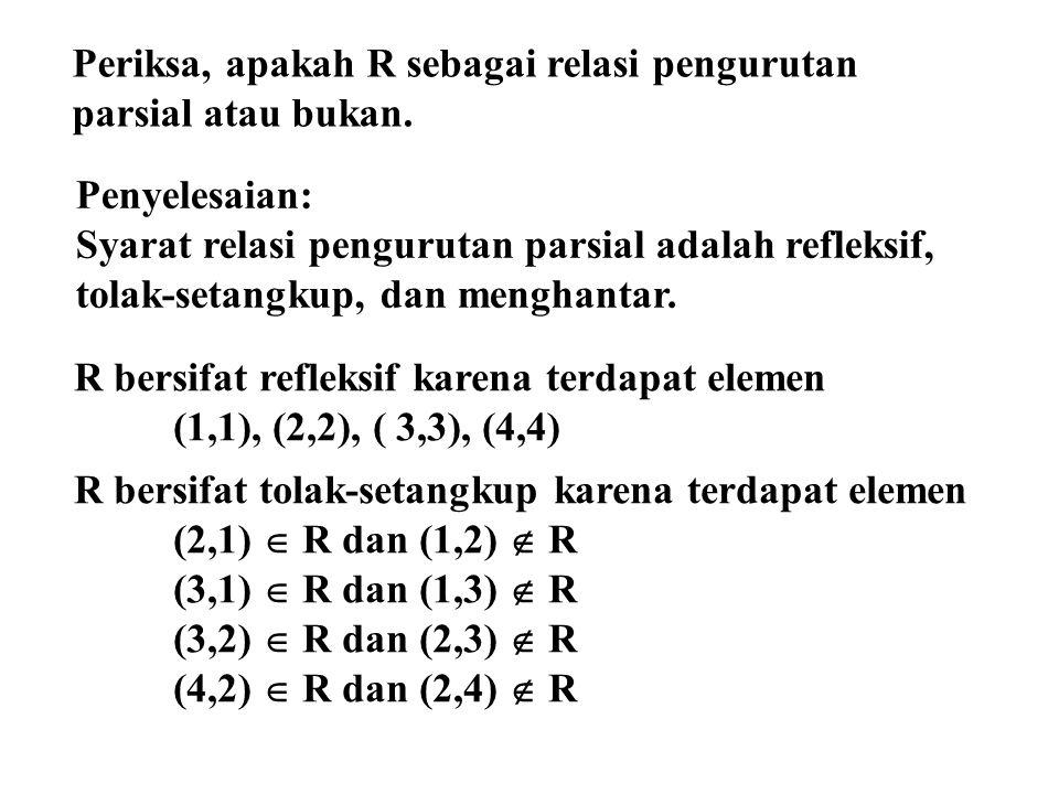 R bersifat refleksif karena terdapat elemen (1,1), (2,2), ( 3,3), (4,4) R bersifat tolak-setangkup karena terdapat elemen (2,1)  R dan (1,2)  R (3,1)  R dan (1,3)  R (3,2)  R dan (2,3)  R (4,2)  R dan (2,4)  R Penyelesaian: Syarat relasi pengurutan parsial adalah refleksif, tolak-setangkup, dan menghantar.