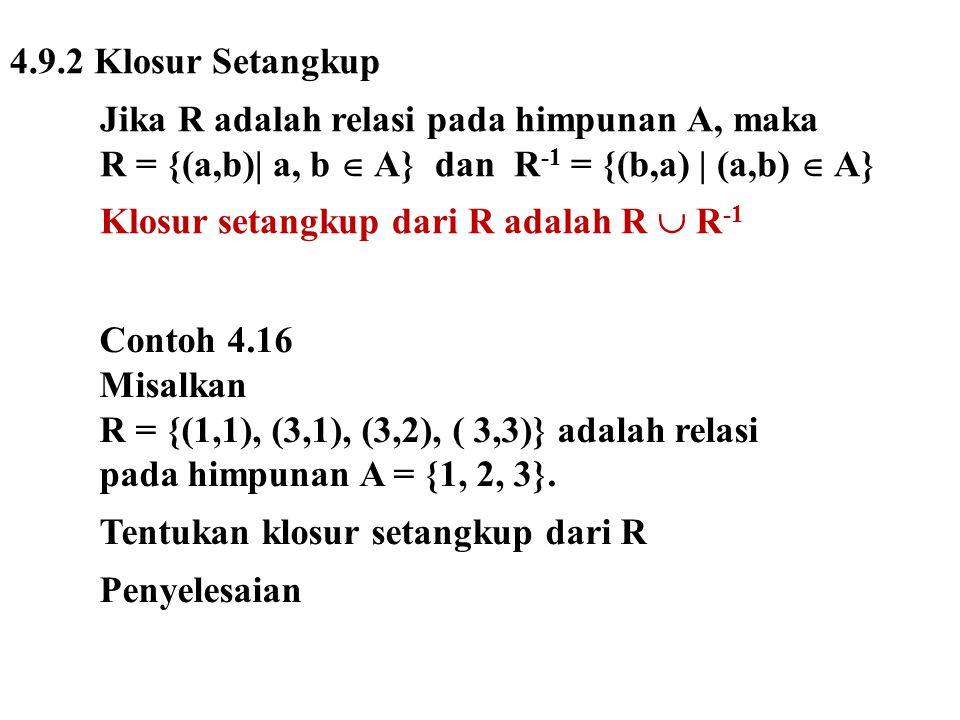 4.9.2 Klosur Setangkup Jika R adalah relasi pada himpunan A, maka R = {(a,b)| a, b  A} dan R -1 = {(b,a) | (a,b)  A} Klosur setangkup dari R adalah R  R -1 Contoh 4.16 Misalkan R = {(1,1), (3,1), (3,2), ( 3,3)} adalah relasi pada himpunan A = {1, 2, 3}.