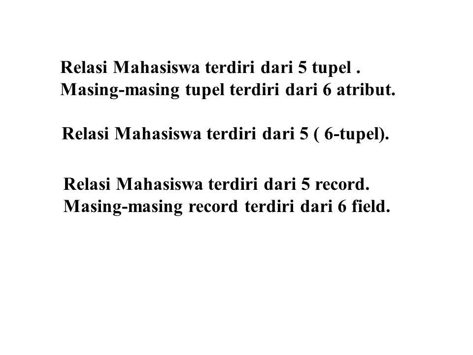 Relasi Mahasiswa terdiri dari 5 tupel.Masing-masing tupel terdiri dari 6 atribut.